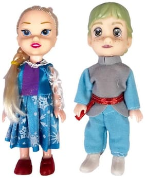 Emob 2 Cute Prince and Princess Dolls with Beautiful Hairs and Moveable Body Parts for Kids