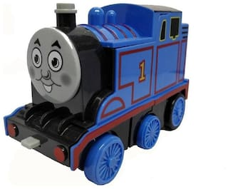 Emob 2 in 1 Blue Deformation Cartoon Character Train Robot Toy with Collision and Pull Back Feature  (Blue)