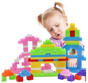 Emob 88 pcs Classic Colors Building Stacking Blocks Toy Set for your Little One to Explore Their Creativity