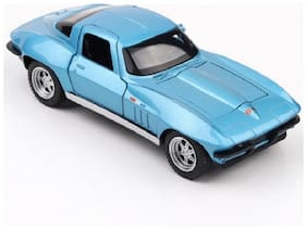 Emob Blue 1:32 Die Cast Metal Pull Back Luxury Car Toy with Light and Sound Effects
