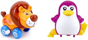 Emob Cute Penguin and Lion Character Friction Power Moving Wind Up Chain Toys for kids
