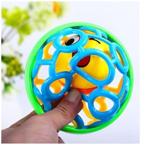 Emob Cute Soft Plastic Rubber Body Rolling Hand Bell Ball Baby Rattles Toy for Infants