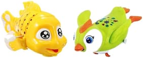 Emob Cute Swimmer Penguin and Fish Character Friction Power Moving Wind Up Chain Toys for kids