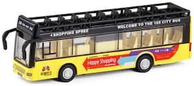 Emob Double Decker Metal Pull Back Yellow City Bus Toy with Light and Sound Features