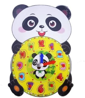 Emob Educational Time Learning Panda Shaped Wooden Clock For Kids with Moving Clocks Hands