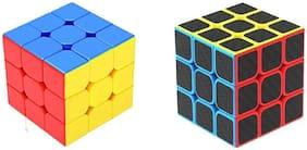 Emob High Speed Stickerless 3x3 & Carbon Fiber sticker 3x3 Magic Rubik Cube Combo Puzzle toy