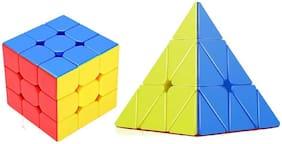 Emob High Speed Stickerless 3x3 & Pyraminx Magic Rubik Cube Puzzle toy