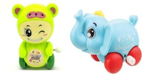 Emob Pack of 2 Cute Mini Elephant and Bear Shape Wind Up Toy