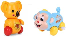 Emob Pack of 2 Cute Mini Monkey and Kolas Shape Wind Up Toy for Toddlers