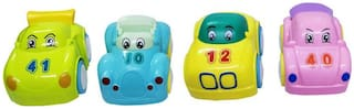 Emob Pack Of 4 Cute Automatic Moveable High Speed Pull Back Car Toy for Kids