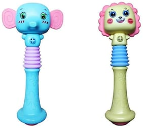 Emob Set of 2 Animal Face Squeezable Musical Baby Rattle Toy for Your Little Ones