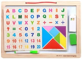 Emob Wooden Educational 2 in 1 Double Sided Magnetic Drawing Board with Tangram for Kids