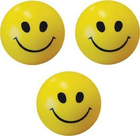 Eris inc Smiley Face Squeeze Stress relief Ball ( pack of 3 ) -   (Yellow)