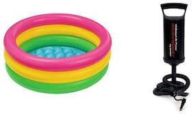Esellersmart Intex Combo 2 Feet Kids Water Bath Tub & Air Pump- (Multicolor)