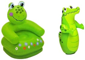 EsellerSmart Intex Combo 3-D Punching Bop Bag Crocodile Shape Inflatable Bouncers & Inflatable Frog Chair