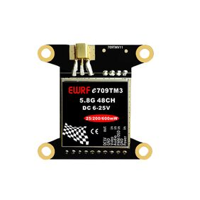 EWRF e709TM3 5.8G OSD Adjustable AV Transmitter 5V 48CH With BEC/PWM Mounting Holes For Flytower F3/F4 Flight Controller(Black) #ToyWorld