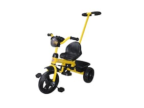 EZ' Playmates Super racer tricycle with navigator and rear basket for kids - Yellow