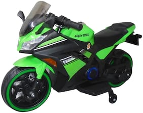 EZ' Playmates 3-6 years hand accelerator with key start Special Edition Ninja Sports Battery Operated Bike and 2 broad main wheels with support wheels for Kids - Green
