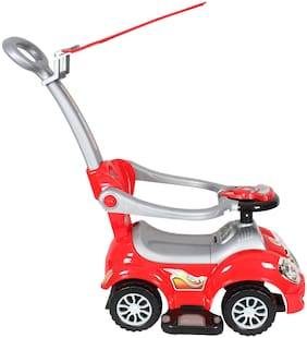 EZ' Playmates fun car manual ride on with navigator and canopy for kids - Red