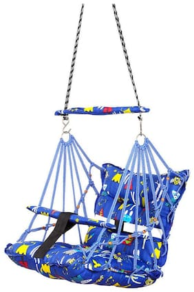 FABKNIT Baby Swing Suitable For Indoor;Outdoor;Balcony and Cotton Baby Hanging Swing (Blue)