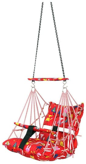 FABKNIT Baby Swing Suitable For Indoor;Outdoor;Balcony and Cotton Baby Hanging Swing (Red)