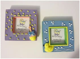 """Fabulous NEW Cute """"All for Baby"""" Set of Two Baby Picture Frames for 1 1/2"""" Photo"""