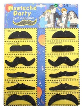Fake Self Adhesive Black Mustache Black (Set of 12) Party Props for party kids fun