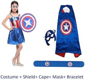 Fancydresswale Captain America Girl Costume + Cape + Felt Mask + Silicon Bracelet