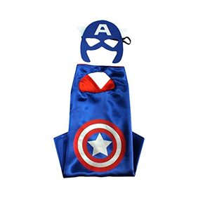 Fancydresswale Dress up costume Superhero Capes set with mask for Boys and Girls- Birthday party gift for kids Character- CAPTAIN AMERICA