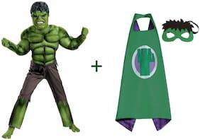 Fancydresswale Hulk Costume + Plastic Mask + Cape (7-9 Years)
