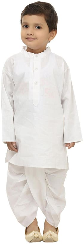 Fanzi Baby boy Cotton Solid Dhoti kurta - Grey