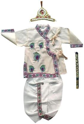 Fanzi Baby boy Cotton Embellished Dhoti kurta - White