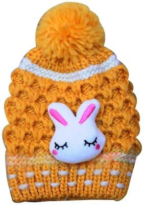Fanzi Girls & Boys Red Fancy Bow Hooded Warm Feel Woolen Cap