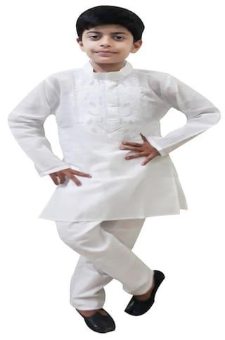 Fanzi Boy Cotton Solid Kurta Pyjama Set - White