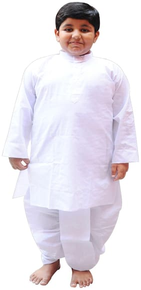 Fanzi Boy Cotton Solid Dhoti kurta - White