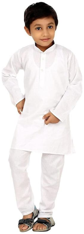 Fanzi Baby boy Cotton Solid Kurta pyjama set - White