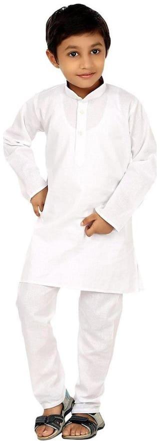 Fanzi Baby boy Cotton Solid Kurta pyjama set - White