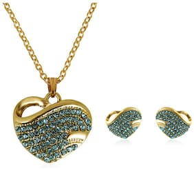 Fasherati Gold plated Austrian Crystal Heart pendant Earrings set for girls