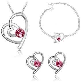 Fasherati Heart Austrian Crystal pendant Earrings Sets for girls