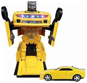 Fastdeal 2 in 1 Transform Robot Races Car Toy with Bright Lights and Music, Battery Operated (Multicolour)