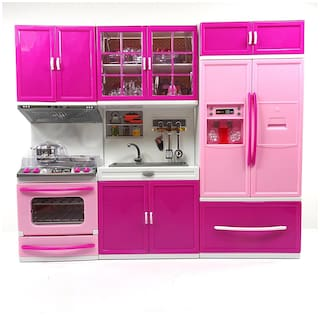 Buy Fastdeal 3 Piece Kitchen Set For Girls Battery Operated With Led