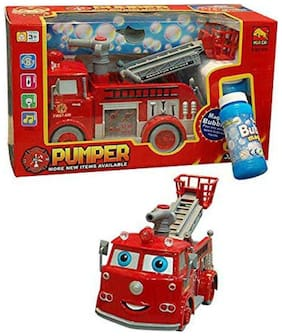 FASTDEAL Babytintin Cartoon Fire Rescue Pumper Bubble Blowing Bump & Go Battery Operated Toy Truck w/ Extending