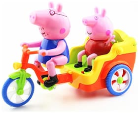 Fastdeal beautiful tricycle toys with pig on riding seat light and sound toy for kids (Multicolor)