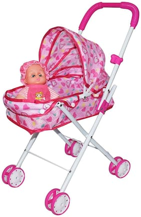 Fastdeal Foldable Baby Doll Stroller Baby Pram for Baby Age 3 Years & Above (Multicolor)