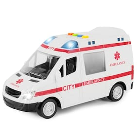 Fastdeal Friction Powered Rescue Ambulance Toy Emergency Vehicle Lights and Sounds