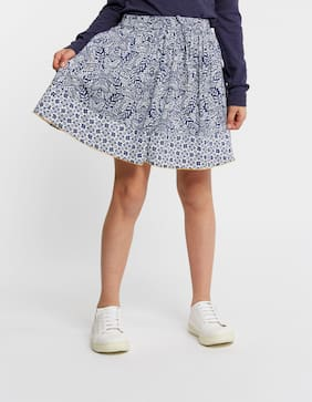 Fatfish Girl Cotton Floral Flared skirt - Blue