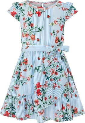 Fatfish Blue Polyester Short Sleeves Midi Princess Frock ( Pack of 1 )