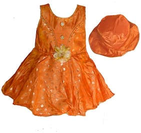 faynci Orange Cotton Blend Sleeveless Knee Length Princess Frock ( Pack of 1 )
