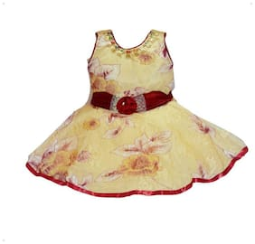 faynci Baby girl Net Solid Princess frock - Brown