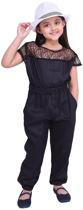 FAZZN Cotton blend Solid Dungaree For Girl - Black